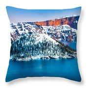 Winter Morning At Crater Lake Throw Pillow