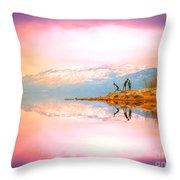 Winter Morning At Okanagan Lake Throw Pillow