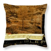 Winter Morning At The Cattle Farm Throw Pillow