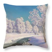 Winter Morning In Engadine Throw Pillow