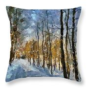 Winter Morning In The Forest Throw Pillow