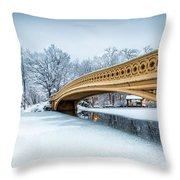 Winter Morning With Bow Bridge Throw Pillow