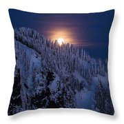 Winter Mountain Moonrise Throw Pillow