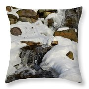 Winter Mountain Stream Throw Pillow