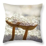 Winter Mushrooms Throw Pillow