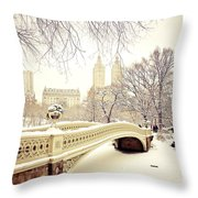 Winter - New York City - Central Park Throw Pillow