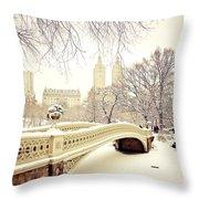 Winter - New York City - Central Park Throw Pillow