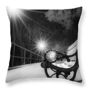Winter Night Along The River Throw Pillow