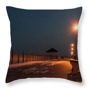 Winter Night Boardwalk Bench Seaside Nj  Throw Pillow