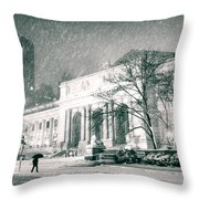 Winter Night In New York City - Snow Falls Onto 5th Avenue Throw Pillow