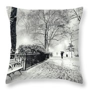 Winter Night - Snow - Madison Square Park - New York City Throw Pillow