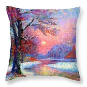 Winter Nightfall, Snow Scene  Throw Pillow