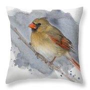 Winter Northern Cardinal Throw Pillow