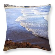 Winter Ocean In Newport Ri Throw Pillow