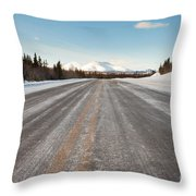 Winter On Country Road In Taiga And Snowy Mountain Throw Pillow