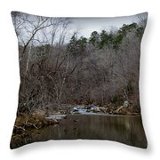 Winter On The Eno River At Fews Ford Throw Pillow