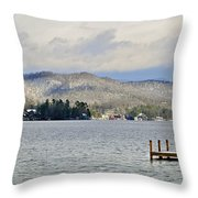 Winter On The Lake Throw Pillow by Susan Leggett