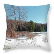 Winter On The Moose River - Old Forge New York Throw Pillow