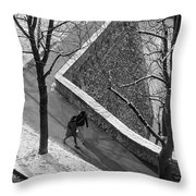 Winter On The Walls Of Bergamo Throw Pillow