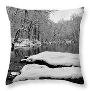 Winter On The Wissahickon Creek Throw Pillow