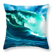 Winter Pacific Surf Throw Pillow