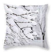 Winter Park Under Heavy Snow Throw Pillow by Elena Elisseeva