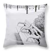 Winter Park With Benches Throw Pillow