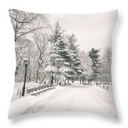Winter Path - Snow Covered Trees In Central Park Throw Pillow