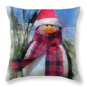 Winter Penguin Photo Art Throw Pillow