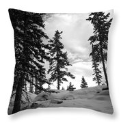 Winter Pines Silhouetted Against The Sky Throw Pillow
