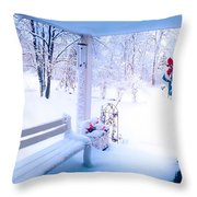 Winter Porch Throw Pillow