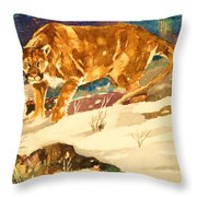 Cougar On The Prowl In Winerer Throw Pillow