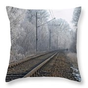 Winter Railroad Throw Pillow