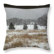 Winter Rain  Throw Pillow