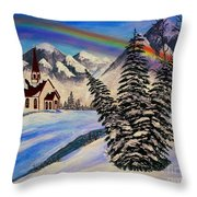 Winter Rainbow Throw Pillow