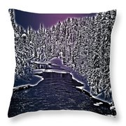 Winter River Oulanka National Park Lapland Finland  Throw Pillow