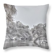 Winter River Scene Throw Pillow