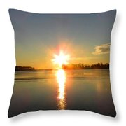 Winter River Sunrise Throw Pillow