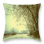 Winter Road Abstract  Throw Pillow