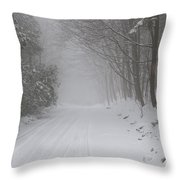 Winter Road During Snow Storm Throw Pillow