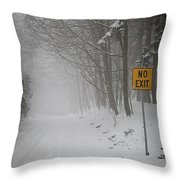 Winter Road During Snowfall I Throw Pillow