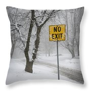 Winter Road During Snowfall IIi Throw Pillow