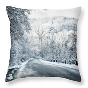 Winter Road In Forest Throw Pillow