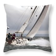 Winter Sailing In British Columbia Throw Pillow