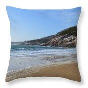 Winter Sand Beach Acadia Throw Pillow