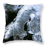 Winter Scandinavia Satellite Map Throw Pillow