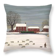 Winter Scene In Lincolnshire Throw Pillow