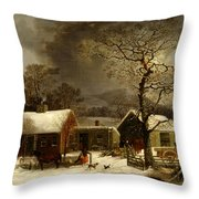 Winter Scene In New Haven Connecticut 1858 By Durrie Throw Pillow by Movie Poster Prints