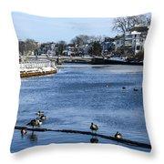 Winter Scene Jersey Shore Town Throw Pillow