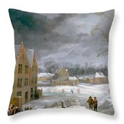 Winter Scene With A Man Killing A Pig Throw Pillow